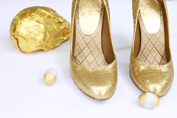chanel gold shoes